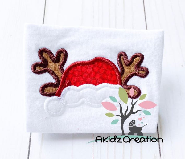 antler embroidery design, santa hat embroidery design, christmas embroidery design, applique, reindeer embroidery design, deer embroidery design