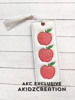 apple book mark embroidery design, apple trio embroidery design, sketch apple embroidery design, in the hoop embroidery design, in the hoop apple book mark design