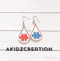 in the hoop autism awareness embroidery design, in the hoop earrings, in the hoop autism awareness earrings embroidery design