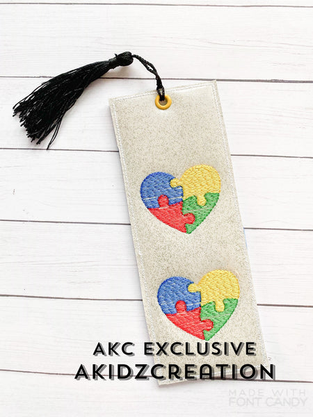 ith autism bookmark embroidery design, autism embroidery design, bookmark embroidery design, autism awareness embroidery esign
