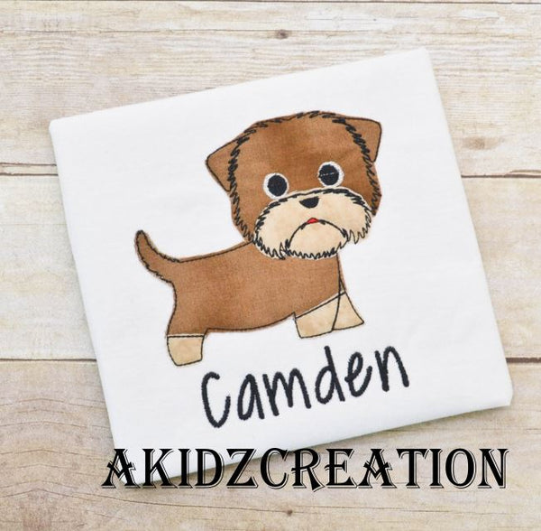 yorkie dog applique, dog applique, applique design, akidzcreation, yorkie puppy applique, bean stitch applique design