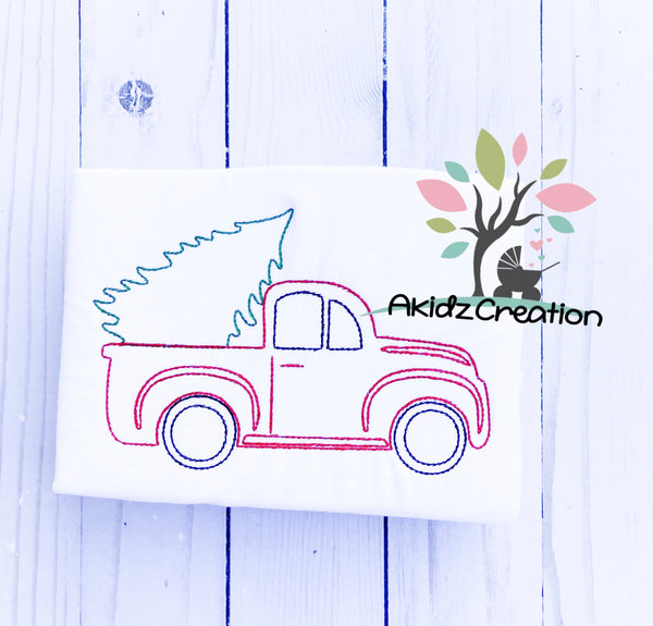 christmas tree embroidery design, christmas truck  embroidery  design, red truck embroidery design, Christmas red truck