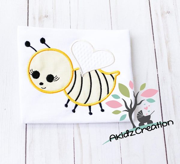 bee embroidery, bee applique design, spring embroidery, spring applique, insect embroidery, insect applique
