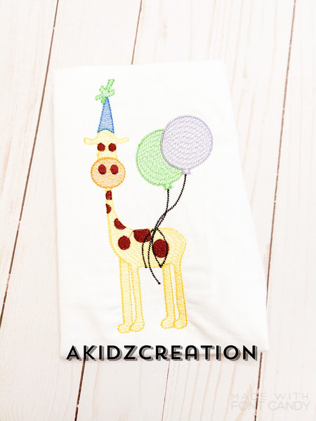 birthday balloon embroidery design, birthday embroidery design, giraffe embroidery design, birthday giraffe embroidery design, sketch embroidery design, sketch giraffe embroidery design, machine embroidery giraffe embroidery design