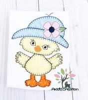 rain chick embroidery, rain hat embrodiery, duck embroidery, duck, chick, chick applique, machine embroidery chick applique, machine embroidery chick design, machine embroidery duck applique, machine embroidery duck design, rain duck embroidery design, rain duck applique, garden hat embroidery design, hat embroidery design, duck in hat embroidery design, garden duck embroidery design, spring embroidery design, easter embroidery design
