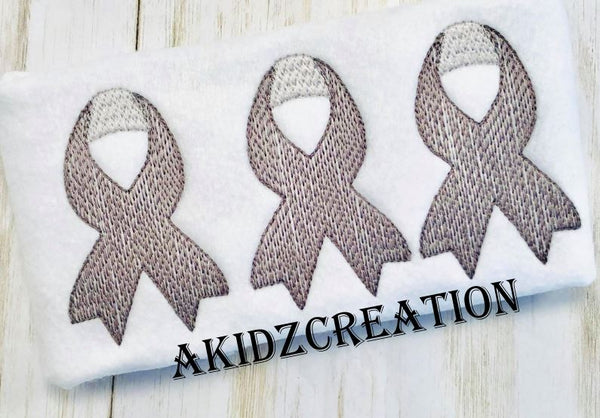 sketch embroidery design, brain cancer embroidery design, sketch brain cancer embroidery design, cancer ribbon embroidery design