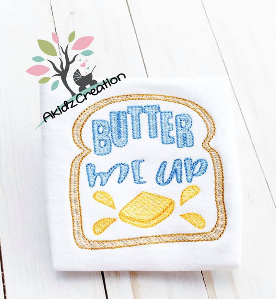 butter me up toast embroidery design, toast embroidery design, sketch embroidery design, food embroidery design, breakfast embroidery design, butter embroidery design