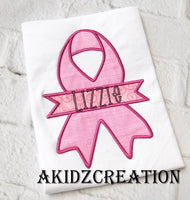 cancer ribbon banner applique, cancer ribbon monogram design, monogram embroidery design, cancer awareness embroidery design, awareness embroidery design