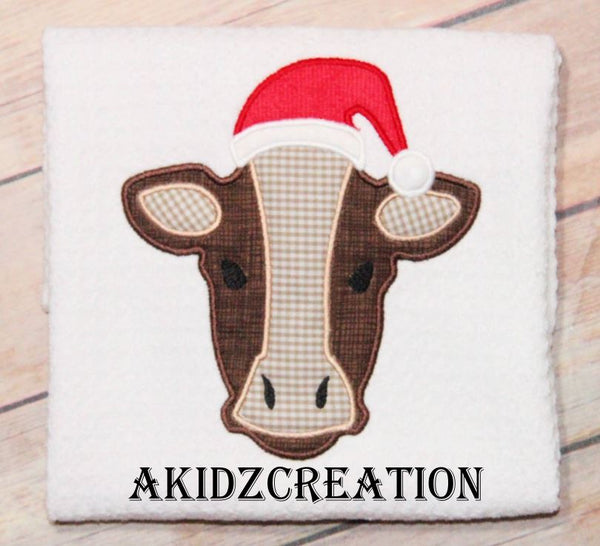 christmas cow embroidery design, cow embroidery design, christmas embroidery, akidzcreation