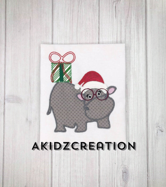 christmas hippo embroidery design, christmas embroidery design, hippo embroidery design, hippo applique, christmas present embroidery design, santa hat embroidery design, christmas embroidery design