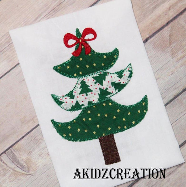 christmas embroidery design, christmas tree embroidery design, christmas tree with bow embroidery design, vintage christmas tree embroidery design, girl christmas tree, akidzcreation, machine embroidery, emrboidery