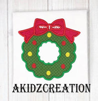 christmas wreath embroidery design, wreath embroidery design, christmas applique, applique, embroidery design,