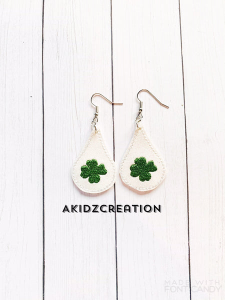 ith clover earrings embroidery design, clover earrings embroidery design, st patricks day earrings embroidery design, earrings embroidery design, in the hoop earrings