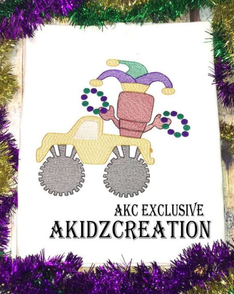 mardi gras embroidery design, mardi gras monster truck embroidery design, sketch monster truck, crawfish embroidery design, lobster embroidery design, mardi gras beads embroidery design, jester hat embroidery design