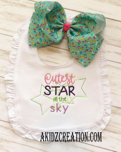 cutest star in the sky embroidery design, baby shower embroidery design, star embroidery design, quick stitch embroidery design, vintage stitch embroidery design