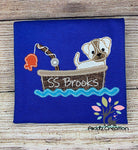 boat embroidery design, fishing embroidery design, fishing boat embroidery design, dog embroidery design, dog fishing embroidery design, fishing pole embroidery design, fish embroidery design, applique, dog fishing applique, bean stitch applique