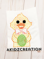 easter embroidery design, easter duck embroidery design, easter duck holding easter egg embroidery design, duck holding an easter egg embroidery design, duck embroidery, applique, duck applique, duck with bow tie embroidery design