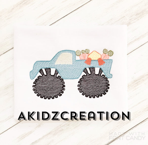 easter duck in monster truck embroidery design, easter embroidery design, duck embroidery design, monster truck embroidery design, sketch embroidery design, sketch monster truck embroidery design, easter monster truck embroidery design