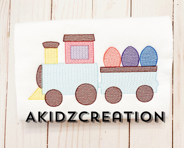easter train embroidery, embroidery, akidzcreation, easter egg, sketch train embroidery, sketch embroidery, train embroidery design, vehicle embroidery design, transportation embroidery design, easter egg embroidery design, easter egg trio embroidery design