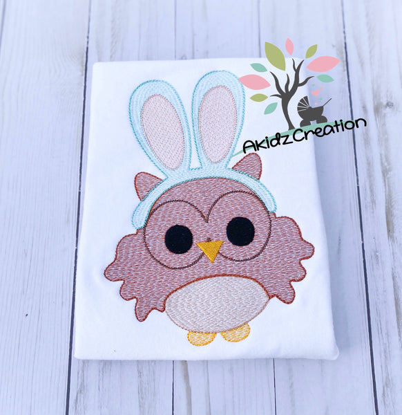 sketch owl embroidery design, owl embroidery design, easter embroidery design, easter owl embroidery design, owl embroidery design, sketch owl embroidery design, owl in easter bunny  ears