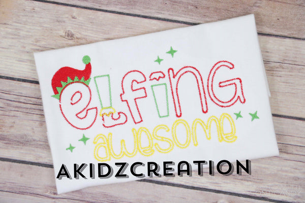 elfing awesome embroidery design, elf embroidery design, christmas embroidery,