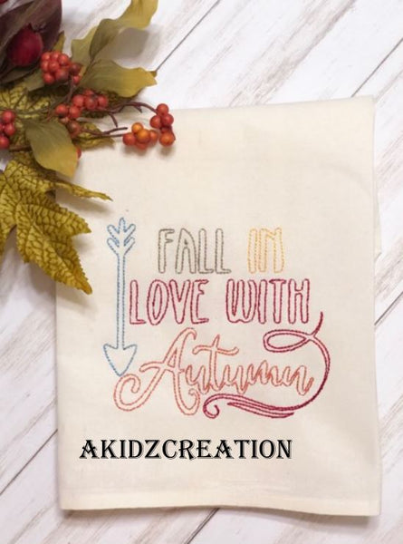 fall in love with autumn embroidery design, thanksgiving embroidery design, autumn embroidery design, fall embroidery design, saying embroidery design