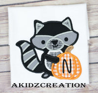 raccoon embroidery design, raccoon applique, applique, fall racoon embroidery design, raccoon embroidery, pumpkin applique, pumpkin embroidery