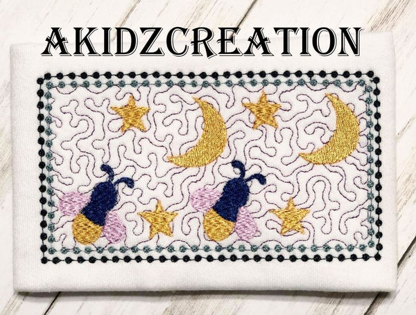 faux smock starry night embroidery design, faux smock embroidery design, fireflies embroidery design, moon embroidery design, star embroidery design