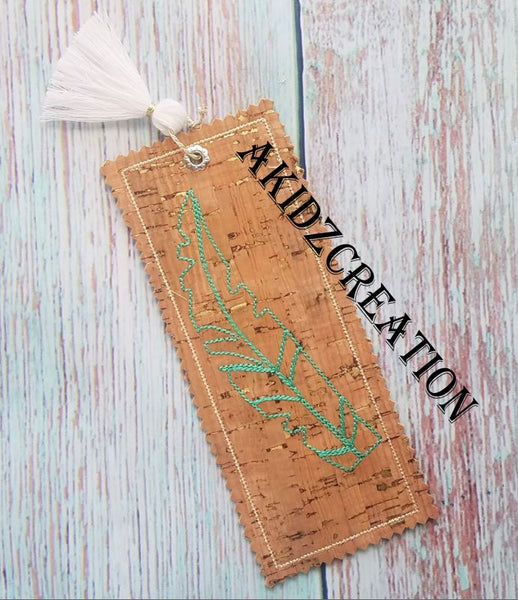 in the hoop feather book mark embroidery design, feather embroidery design, book mark embroidery design, in the hoop book mark
