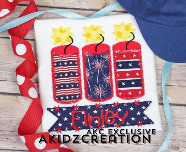 fire cracker applique, applique, fire cracker embroidery design, 4th of july embroidery design, independence day embroidery design fire cracker trio embroidery design, name box embroidery design