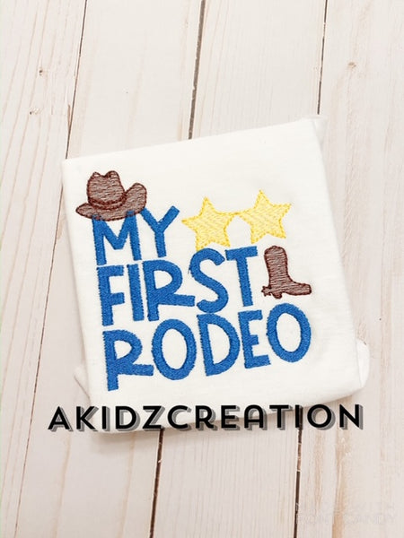 my first rodeo embroidery design, cowboy hat embroidery design, cowboy boot embroidery design, sketch embroidery, saying embroidery, rodeo embroidery design
