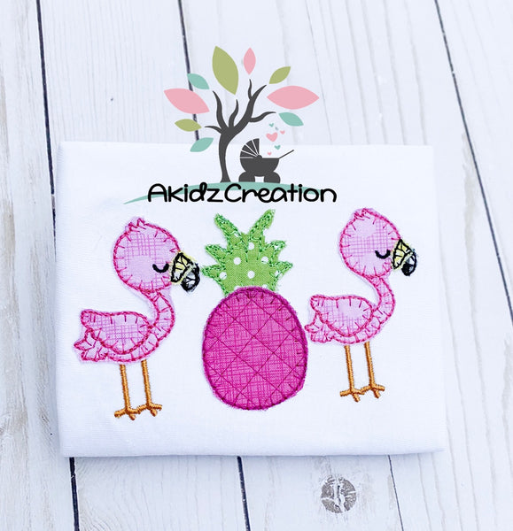 flamingo embroidery, flamingo applique, blanket stitch applique, bird embroidery, bird applique, zoo animal embroidery, zoo animal applique, pineapple applique, pineapple embroidery, tropical embroidery, summer embroidery design