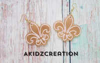 fleur de lis earrings embroidery design, fleur de lis embroidery design, mardi gras embroidery design , mardi gras earrings embroidery design