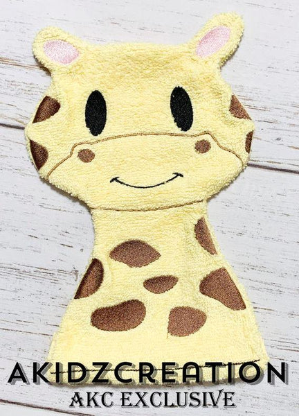 in the hoop giraffe washie embroidery design, in the hoop embroidery design, in the hoop bath mitt embroidery design, giraffe embroidery design, in the hoop giraffe hand puppet embroidery design