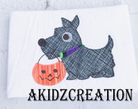 halloween scottie embroidery design, scottish terrier embroidery design, scottie embroidery design, halloween scottie embroidery design, halloween embroidery design,