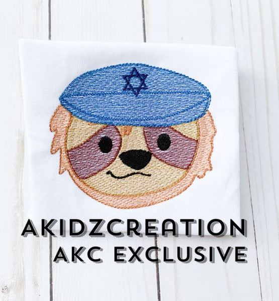 hanukkah embroidery design, sloth embroidery design, religious embroidery design, sketch sloth embroidery design, sketch embroidery design, machine embroidery sloth design, machine embroidery hanukkah design, kippah embroidery design, sketch kippah embroidery design, animal embroidery design