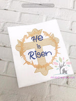 he is risen embroidery design, cross with thorns embroidery design, easter embroidery design, sketch embroidery design, religious embroidery design