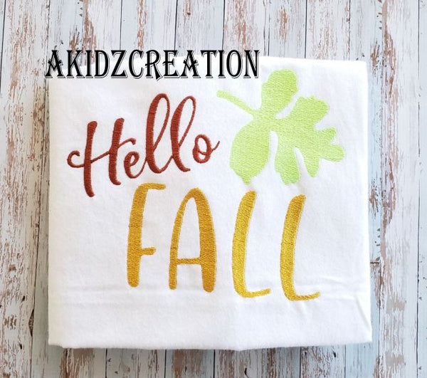 hello fall embroidery design, fall embroidery design, thanksgiving embroidery design, akidzcreation