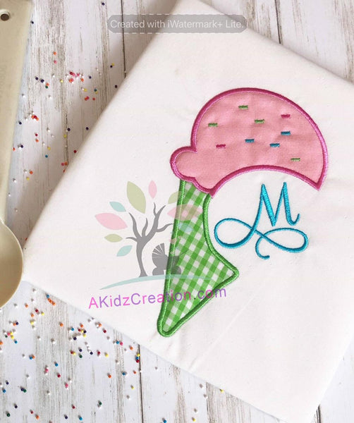 ice cream applique, ice cream monogram, ice cream cone embroidery design, monogram design, monogram embroidery design, summer embroidery design, sprinkles embroidery design