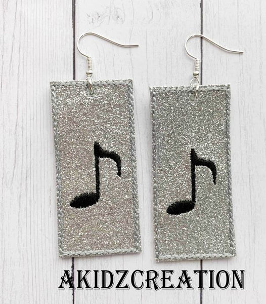 ith music earrings, rectangle earrings, earrings embroidery design, music embroidery