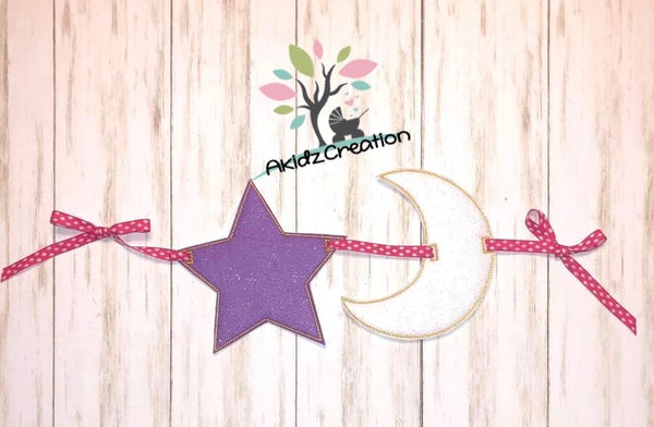 in the hoop embroidery design, in the hoop banner, banner embroidery design, in the hoop design, in the hoop star banner, in the hoop moon banner, in the hoop baby shower design