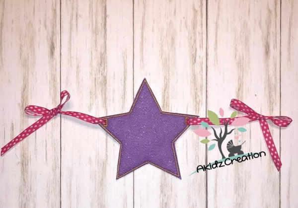 ith  star banner embroidery design, star embroidery design, in the hoop embroidery design, in the hoop star design, in the hoop banner embroidery design, in the hoop garland