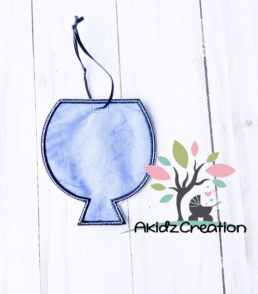 in the hoop wine tag embroidery design, wine embroidery design, back pack tag embroidery design, luggage tag embroidery design,