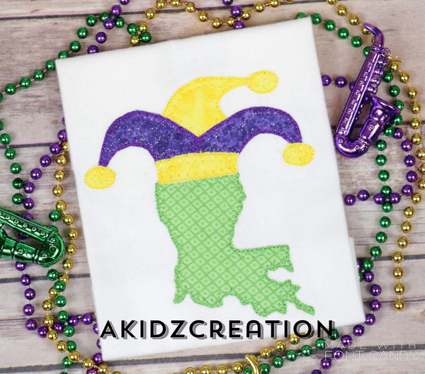louisana embroidery design, jester hat embroidery design, louisana applique, applique, mardi gras applique, mardi gras embroidery design, jester hat applique, jester hat embroidery design, state emrboidery design, machine embroidery state design