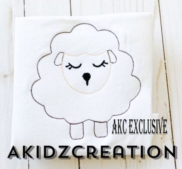 lamb embroidery design, quick stitch lamb, quick stitch sheep design, akidzcreation, easter embroidery design, animal embroidery design,