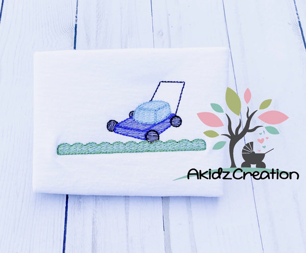 lawn mower embroidery design, grass embroidery design, akidzcreation, machine embroidery design, grass embroidery design, sketch lawn mower embroidery design, sketch grass embroidery design