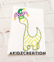 mardi gras dino embroidery design, mardi gras embroidery design, mardi gras dinosaur embroidery design, dinosaur embroidery design, applique, dino applique, dinosaur applique, mardi gras applique, jester hat embroidery design, jester hat applique