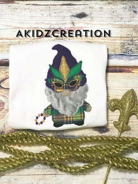mardi gras gnome embroidery design, mardi gras design, gnome embroidery, gnome applique, machine embroidery gnome, machine embroidery mardi gras gnome design, mardi gras mask applique, mardi gras mask embroidery design, mardi gras beads embroidery design, mardi gras beads design, akidzcreation, gnome applique, gnome embroidery design