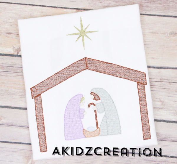 mary and Joseph embroidery design, manger embroidery design, jesus embroidery design, christmas embroidery design, sketch christmas embroidery design, sketch mary embroidery, sketch jesus embroidery