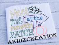 meet me at the patch embroidery design, pumpkin embroidery design, pumpkin patch embroidery design, leaf embroidery design, fall embroidery design